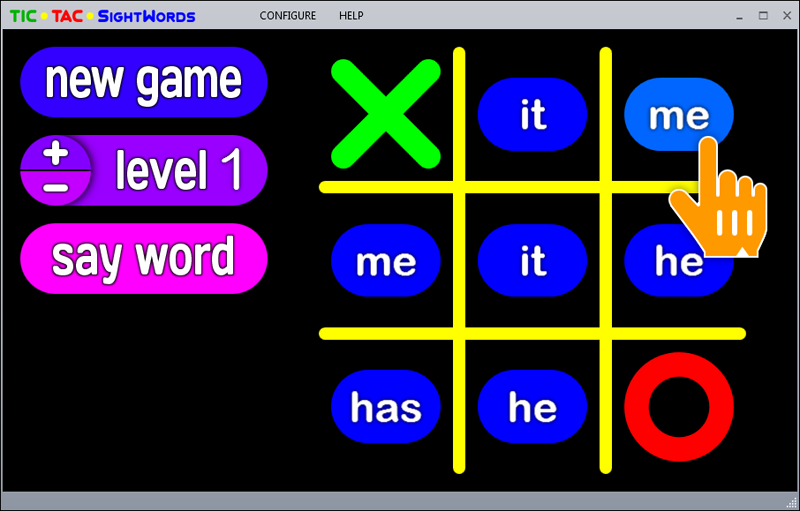 Free tic-tac-toe game using sight words.